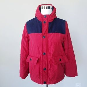 Tommy Hilfiger Womens Red Blue Jacket Sz Large